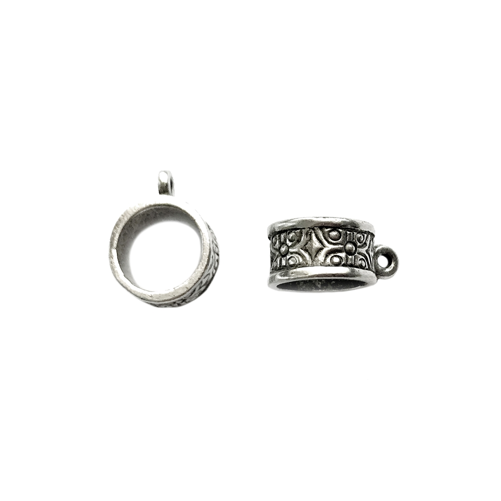 old silver, round connector bail, 03945, patterned beads, Pandora bead style, vintage, B'sue by 1928, lead free pewter castings, cast pewter jewelry findings, made in the USA, 1928 Company, B'sue Boutiques