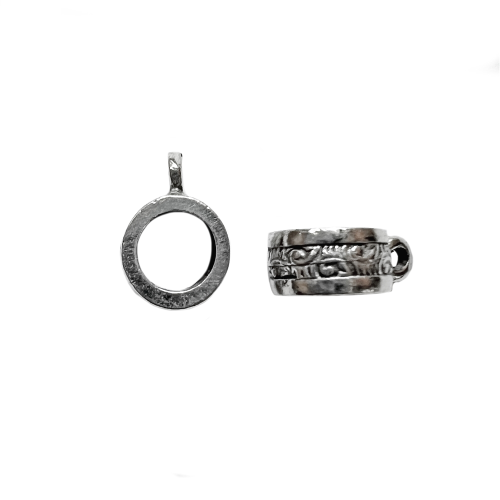 old silver, round connector bail, 03949, patterned beads, Pandora bead style, vintage, B'sue by 1928, lead free pewter castings, cast pewter jewelry findings, made in the USA, 1928 Company, B'sue Boutiques