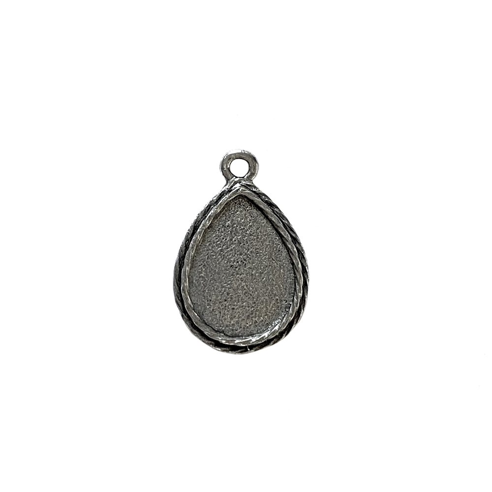 teardrop bezel, pendant, vintage pewter castings, B'sue by 1928, mount, bezel, teardrop, pendant, pattern border, nickel free, lead free pewter, old silver, us made, antique silver, vintage jewelry supplies, 1928 Jewelry, B'sue Boutiques, drop, 04217