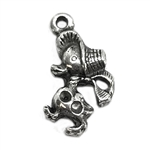 duck in bonnet charm, vintage pewter castings, B'sue by 1928, charm, pendant, duck, double stone set, nickel free, lead free pewter, old silver, us made, designer jewelry, vintage jewelry supplies, 1928 Jewelry, B'sue Boutiques, vintage style, 04212