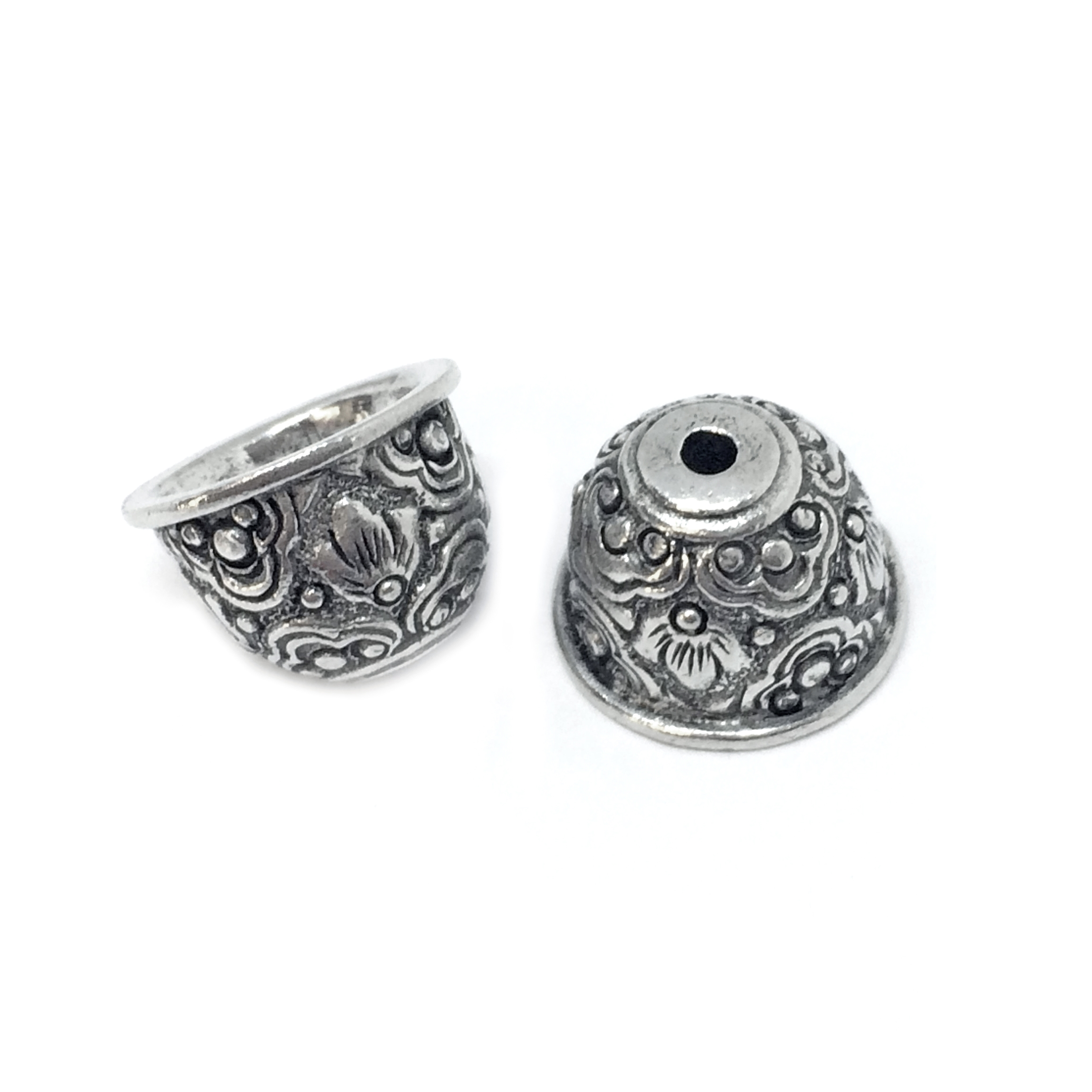 victorian floral bead cap, vintage pewter castings, B'sue by 1928, bead cap, floral, victorian, nickel free, lead free pewter, old silver, us made, antique silver,  vintage jewelry supplies, 1928 Jewelry, B'sue Boutiques, vintage style, 04219