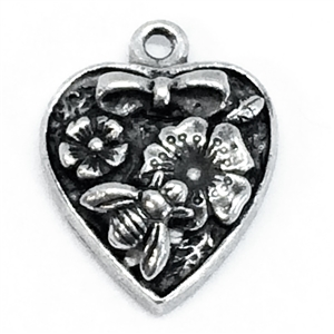 heart garden pendant, vintage pewter castings, B'sue by 1928, heart, garden, charm, pendant, bee, floral, nickel free, lead free pewter, old silver, us made, antique silver, vintage jewelry supplies, 1928 Jewelry, B'sue Boutiques, vintage style, 04256