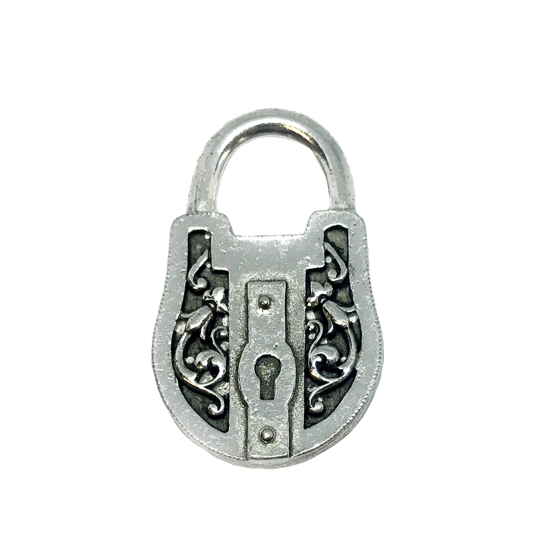 Victorian style padlock, pendant, victorian style lock stamping, lock, old silver pewter, old silver, 3d charm, vintage style, antique silver, us made, nickel free, B'sue Boutiques, B'sue by 1928, lead free pewter, vintage supplies, jewelry making, 04890