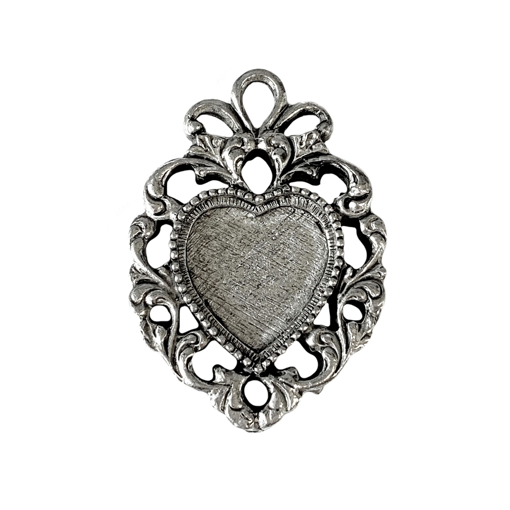 Victorian, heart pendant, bezel,old silver pewter, pewter casting, mount pendant, heart pendant, heart mount, old silver, antique silver, silver, jewelry pendant, Victorian heart, 16mm mount, jewelry making, vintage supplies, jewelry supplies, 05126