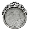 victorian style mount, B'sue by 1928, Victorian mount, cameo mount, stone mount, old silver, silver, antique silver, mount, vintage, nickel free, lead free pewter, vintage castings, US made, vintage supplies, 1928 Jewelry, B'sue Boutiques,26mm mount,05670