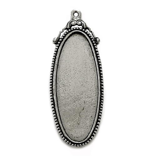victorian style oblong pendant, B'sue by 1928, Victorian pendant mount, cameo mount, stone mount, old silver, silver, pendant, vintage, nickel free, lead free pewter, vintage castings, US made, vintage supplies, 1928 Jewelry, B'sue Boutiques, 05673