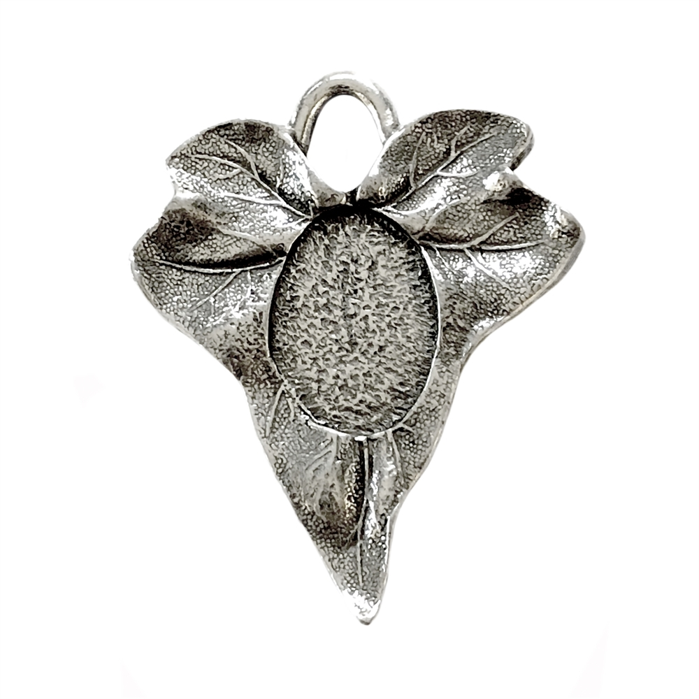 Leaf Pendant, Pendant Mount, Old Silver, 05677, vintage pewter castings, B'sue by 1928, antique silver, nickel free, lead free pewter, US made, designer jewelry, vintage jewelry supplies, 1928 Jewelry, B'sue Boutiques,
