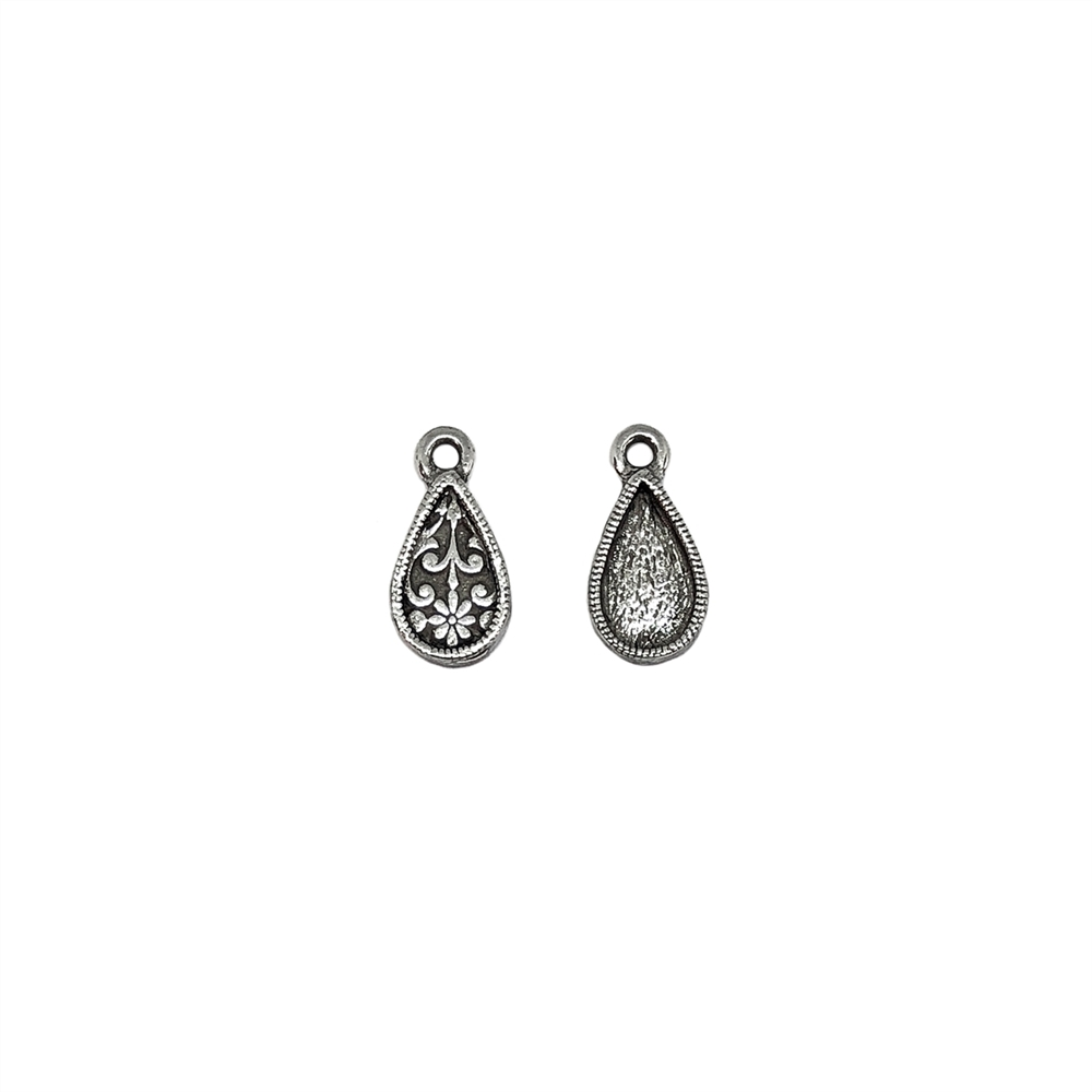 tear drop charm, old silver pewter, Victorian pendant, lead free pewter, B'sue by 1928, antique silver, vintage jewelry parts, nickel free, us made, 1928 Company, designer jewelry, B'sue Boutiques, pewter charms, pendants, 10x5mm mount, 05683