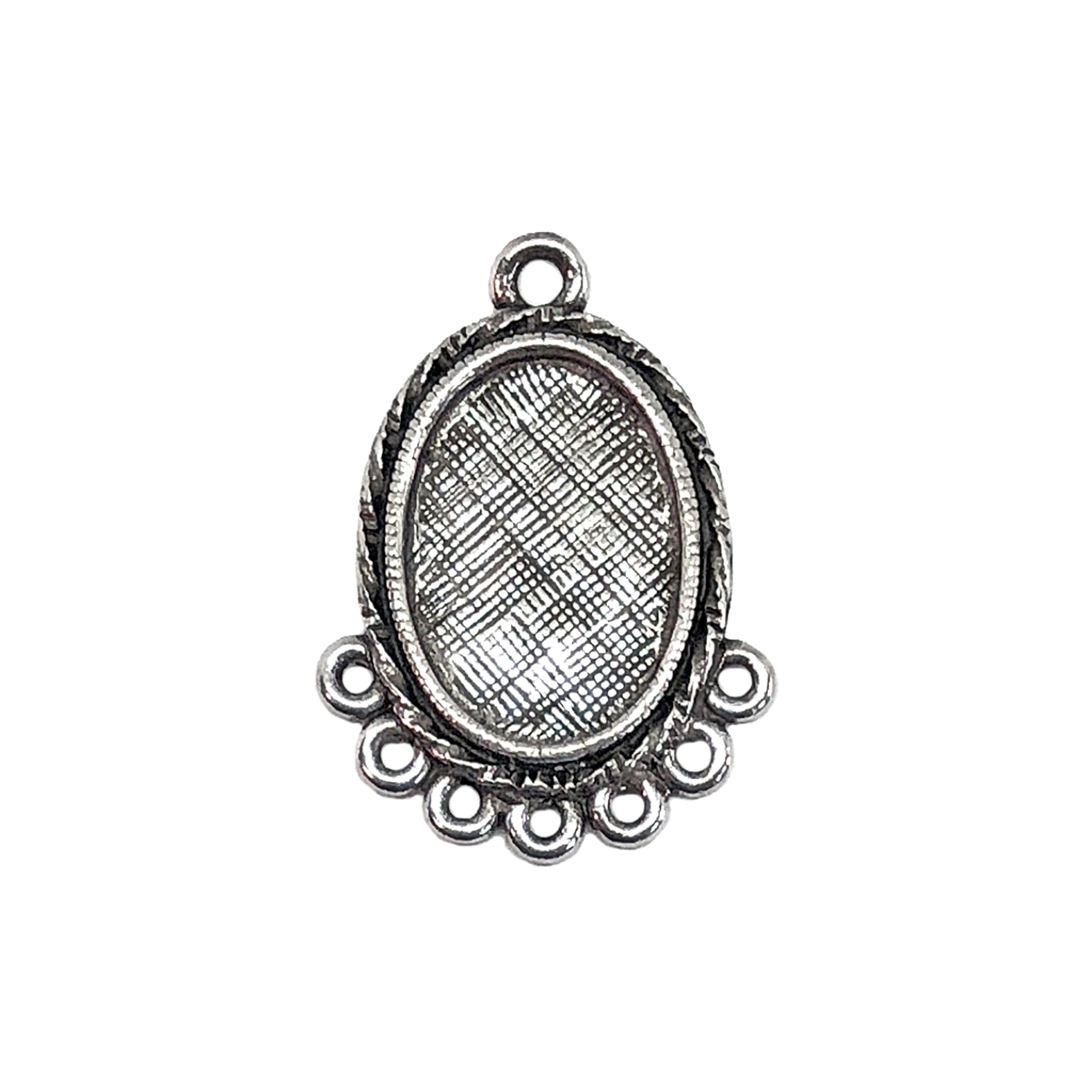 oval drop pendant, old silver pewter, Victorian pendant, lead free pewter, B'sue by 1928, antique silver, vintage jewelry parts, nickel free, us made, 1928 Company, designer jewelry, B'sue Boutiques, gypsy style pendant, 13x10mm mount, 05684