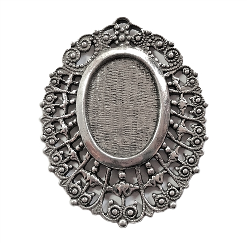 Victorian Lace Pendant, Old Silver, 05685, 25 x 18mm mount, vintage pewter castings, B'sue by 1928,  nickel free, lead free pewter, old silver, US made, vintage mount, vintage jewelry supplies, 1928 Jewelry, B'sue Boutiques, filigree pendant