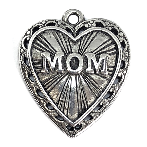 Old Silver plated pewter, mom pendant, plated pewter, vintage, B'sue by 1928, lead free pewter castings, cast pewter jewelry findings, US made, 1928 jewelry, 1928 Company, B'sue Boutiques, pendant, silver, pewter, 24x21mm, 06397