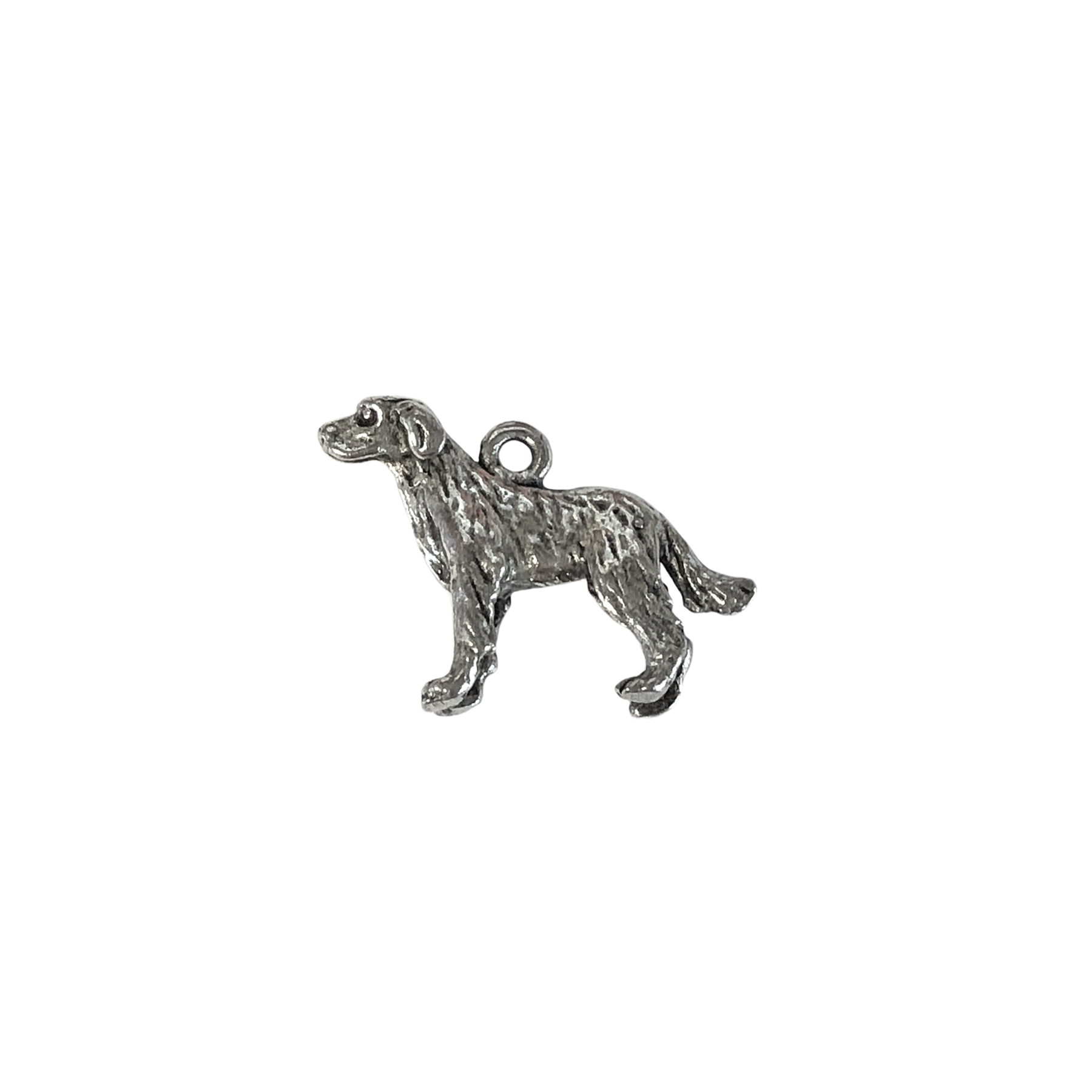 labrador retriever charm, old silver pewter, B'sue by 1928, jewelry charm, dog, dog charm, charm, Labrador, silver, lead-free pewter, gold finish, US made, designer jewelry, vintage supplies, B'sue Boutiques, antique silver, 15x20mm, 0674