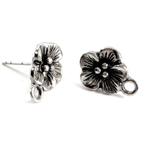 flower earring stud with accent drop, old silver pewter, five petal earrings, accent drop, vintage style, B'sue by 1928, lead free pewter castings, cast pewter jewelry findings, US made, 1928 Company, B'sue Boutiques, antique silver, 15x11mm, 07381