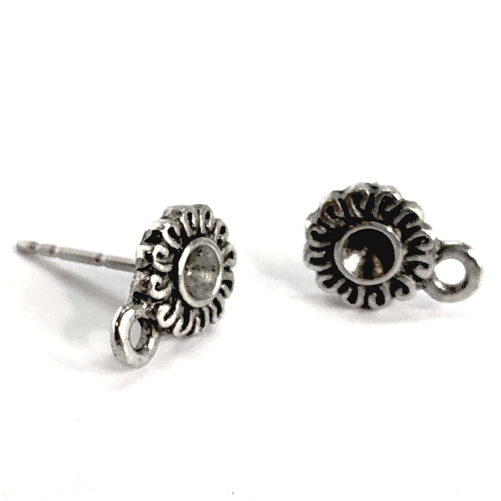 old silver pewter, daisy earring stud, 07387, earring with stone sets, round earrings, accent drop, vintage, B'sue by 1928, lead free pewter castings, cast pewter jewelry findings, made in the USA, 1928 Company, B'sue Boutiques, antique silver