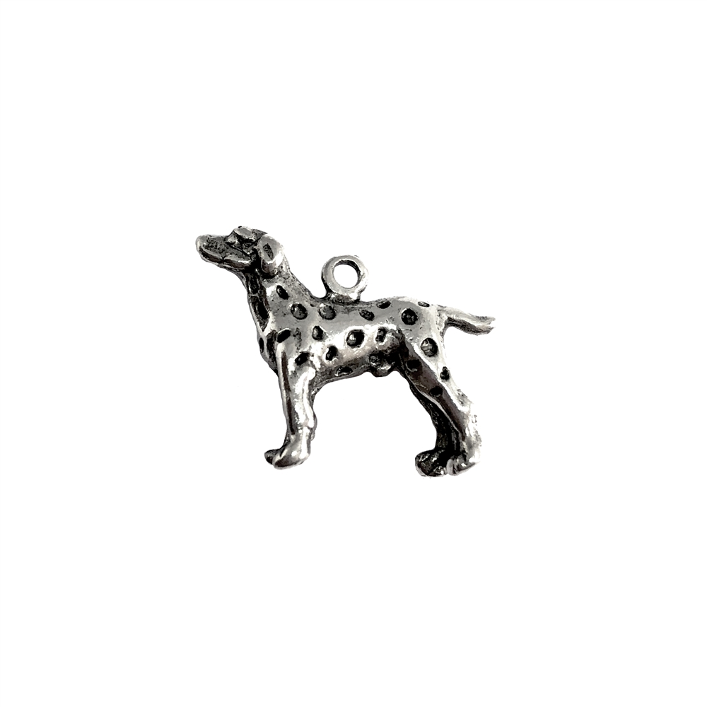 Dalmatian charm, standing dog, 07388, Old Silver, plated pewter, pewter, charm, dog charm, US made jewelry supplies, nickel free jewelry supplies, b'sue boutiques, dog jewelry, silver dog, silver charm,
