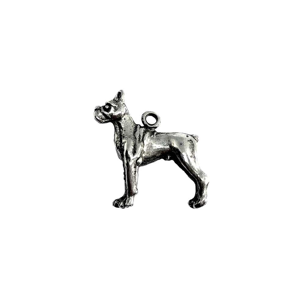 Boxer charm, standing dog, 07389, Old Silver, plated pewter, pewter, charm, dog charm, US made jewelry supplies, nickel free jewelry supplies, b'sue boutiques, dog jewelry, silver dog, silver charm,