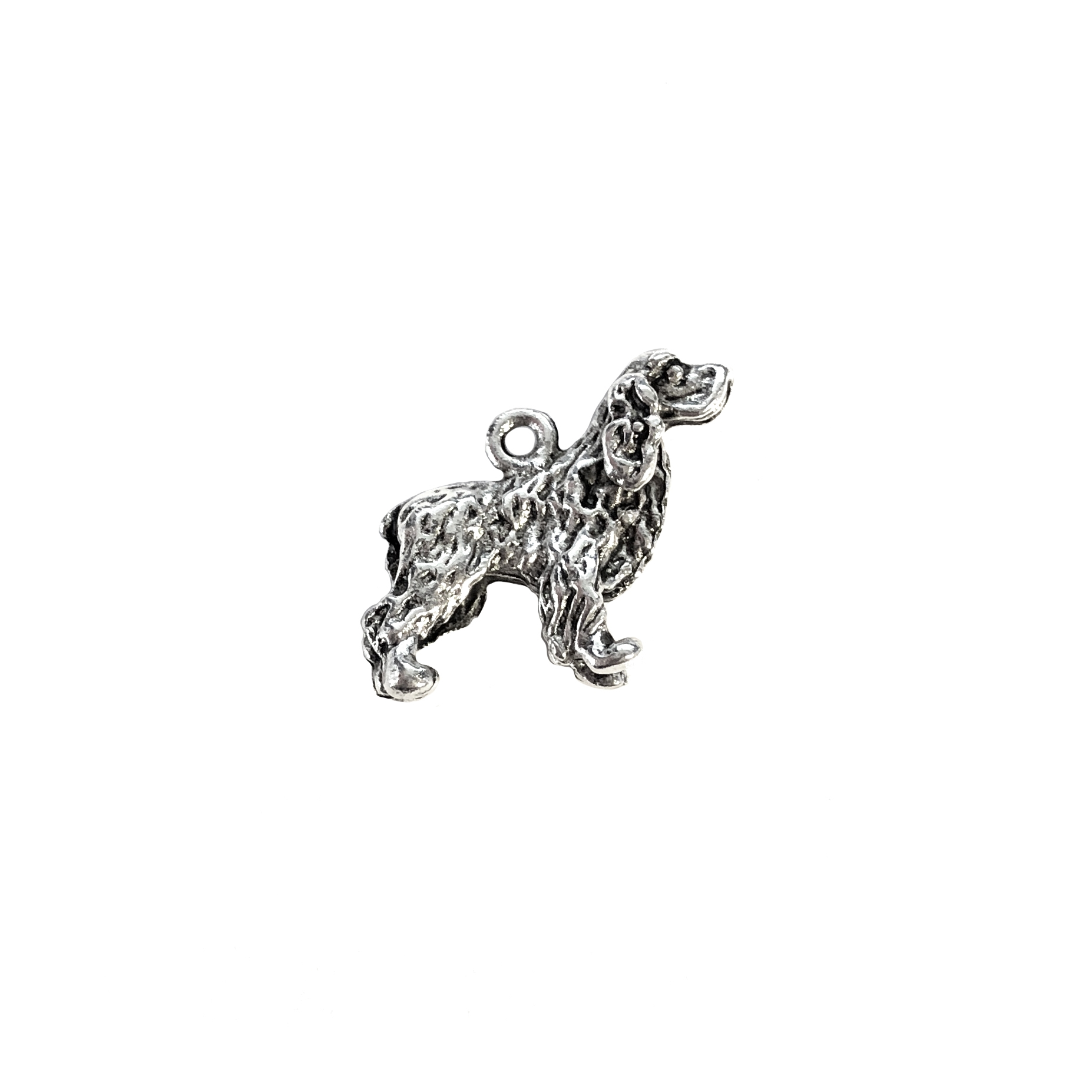 Cocker spaniel charm, sitting dog, 07390, Old Silver, plated pewter, pewter, charm, dog charm, US made jewelry supplies, nickel free jewelry supplies, b'sue boutiques, dog jewelry, silver dog, silver charm,