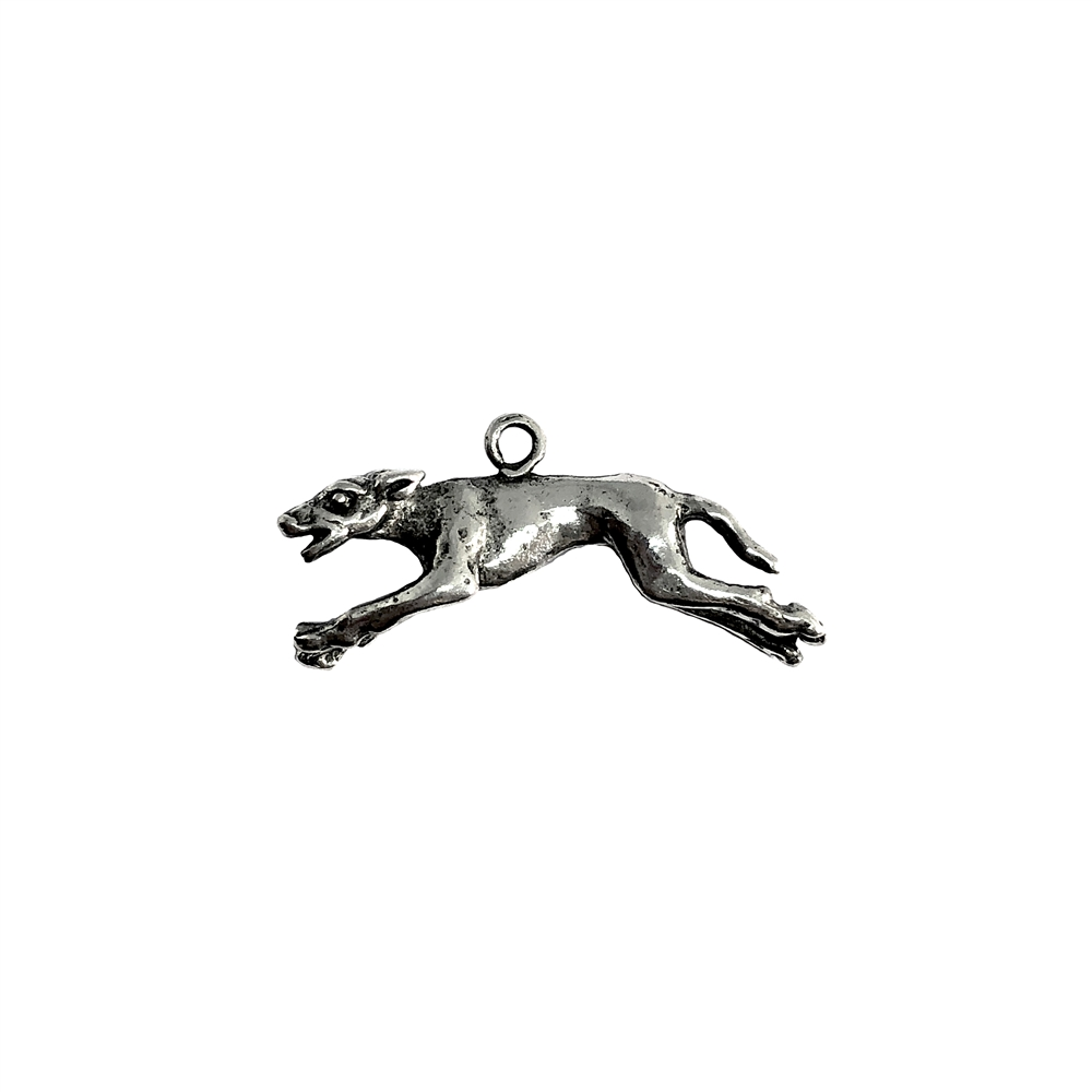 Greyhound charm, racing dog, 07391, Old Silver, plated pewter, pewter, charm, dog charm, US made jewelry supplies, nickel free jewelry supplies, b'sue boutiques, dog jewelry, silver dog, silver charm,
