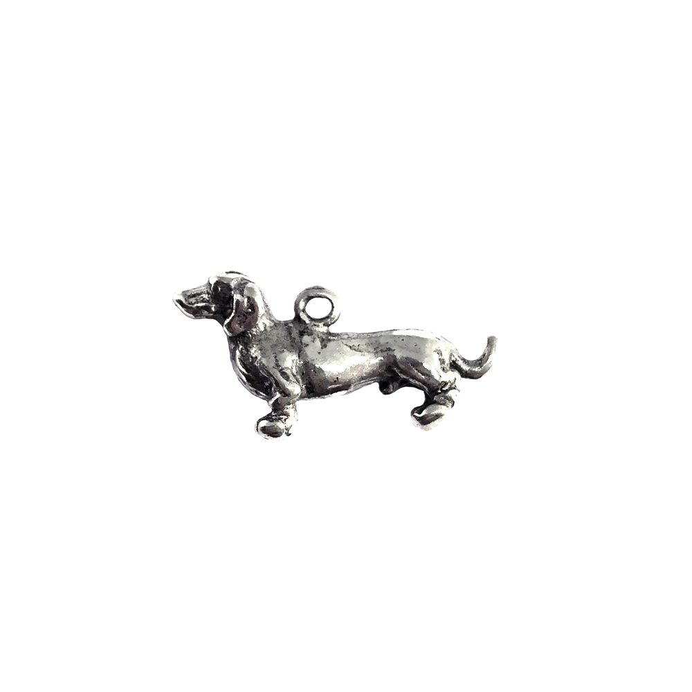 Dachshund charm, sitting dog, 07392, Old Silver, plated pewter, pewter, charm, dog charm, US made jewelry supplies, nickel free jewelry supplies, b'sue boutiques, dog jewelry, silver dog, silver charm,