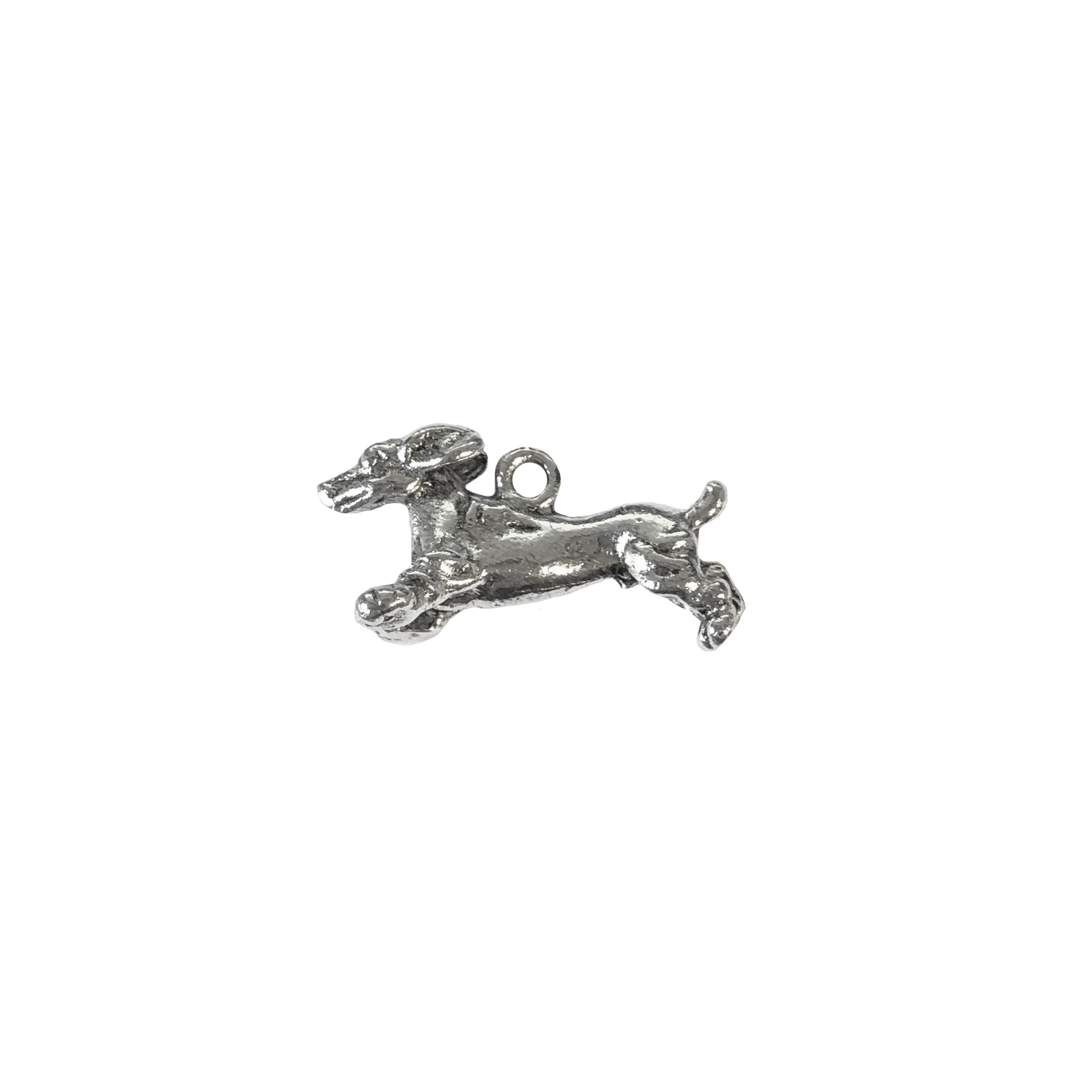 Dachshund charm, running dog, 07393, Old Silver, plated pewter, pewter, charm, dog charm, US made jewelry supplies, nickel free jewelry supplies, b'sue boutiques, dog jewelry, silver dog, silver charm,