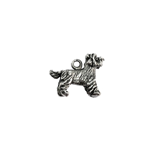 Scottie dog charm, Scottish terrier, 07395, Old Silver, plated pewter, pewter, charm, dog charm, US made jewelry supplies, nickel free jewelry supplies, b'sue boutiques, dog jewelry, silver dog, silver charm,