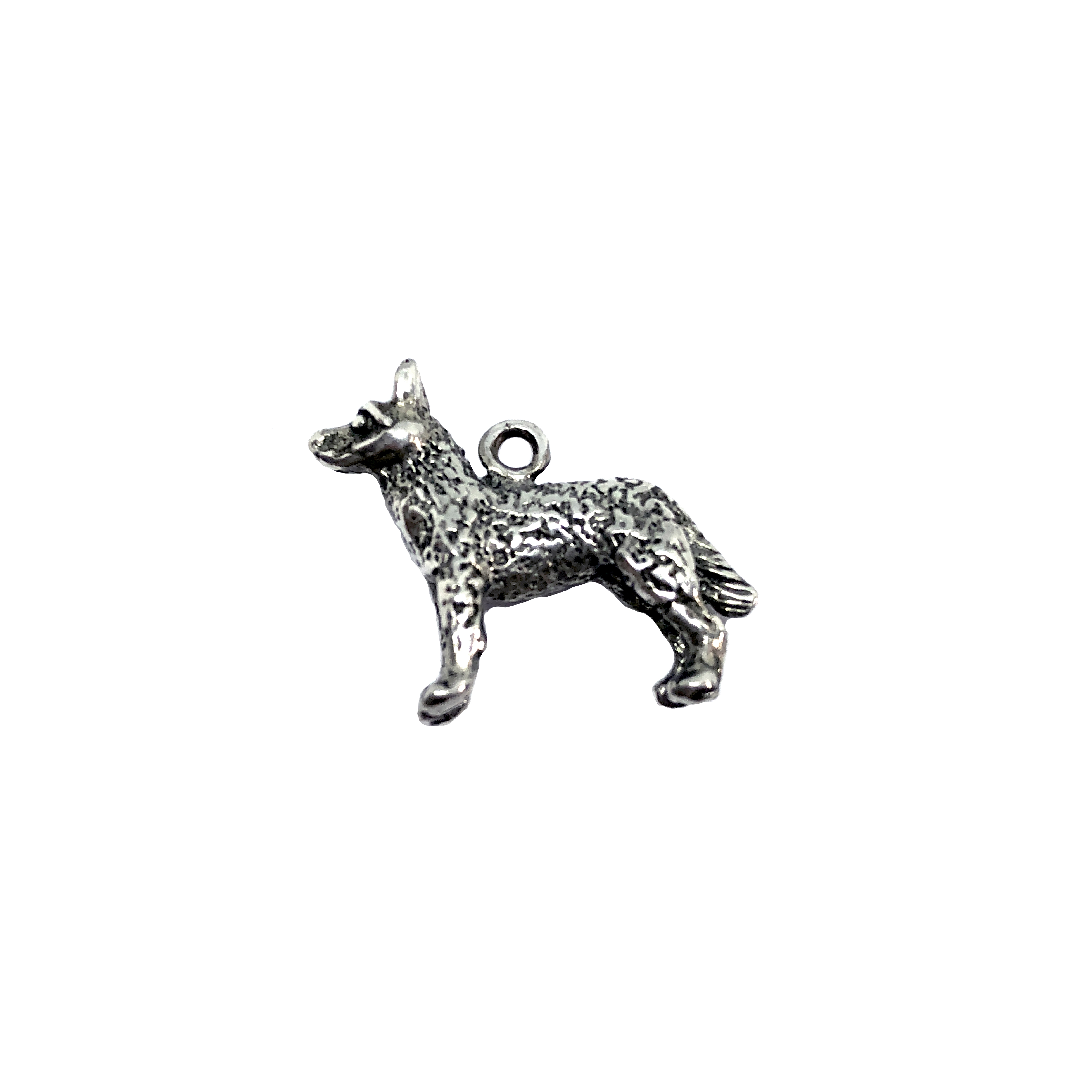 german shepherd, charm, standing dog, 07410, Old Silver, plated pewter, pewter, charm, dog charm, US made jewelry supplies, nickel free jewelry supplies, b'sue boutiques, dog jewelry, silver dog, silver charm,