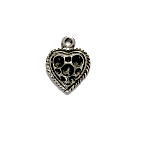 vintage pewter castings, B'sue by 1928, heart charms, bracelet making, old silver, nickel free, lead free pewter, old silver pewter, us made, stone set hearts, vintage supplies, 1928 jewelry, B'sue Boutiques, 15x11mm, heart, charm, pewter, silver, 07620