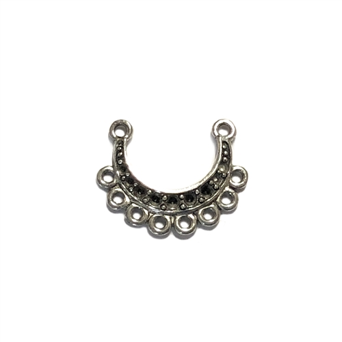 crescent connector charm, pewter charms, lead free pewter, B'sue by 1928, antique silver, vintage style, 1928 Company, designer jewelry, B'sue Boutiques, connector, pendant, old silver pewter, US made, nickel free, 17x22mm, set stones, 07631