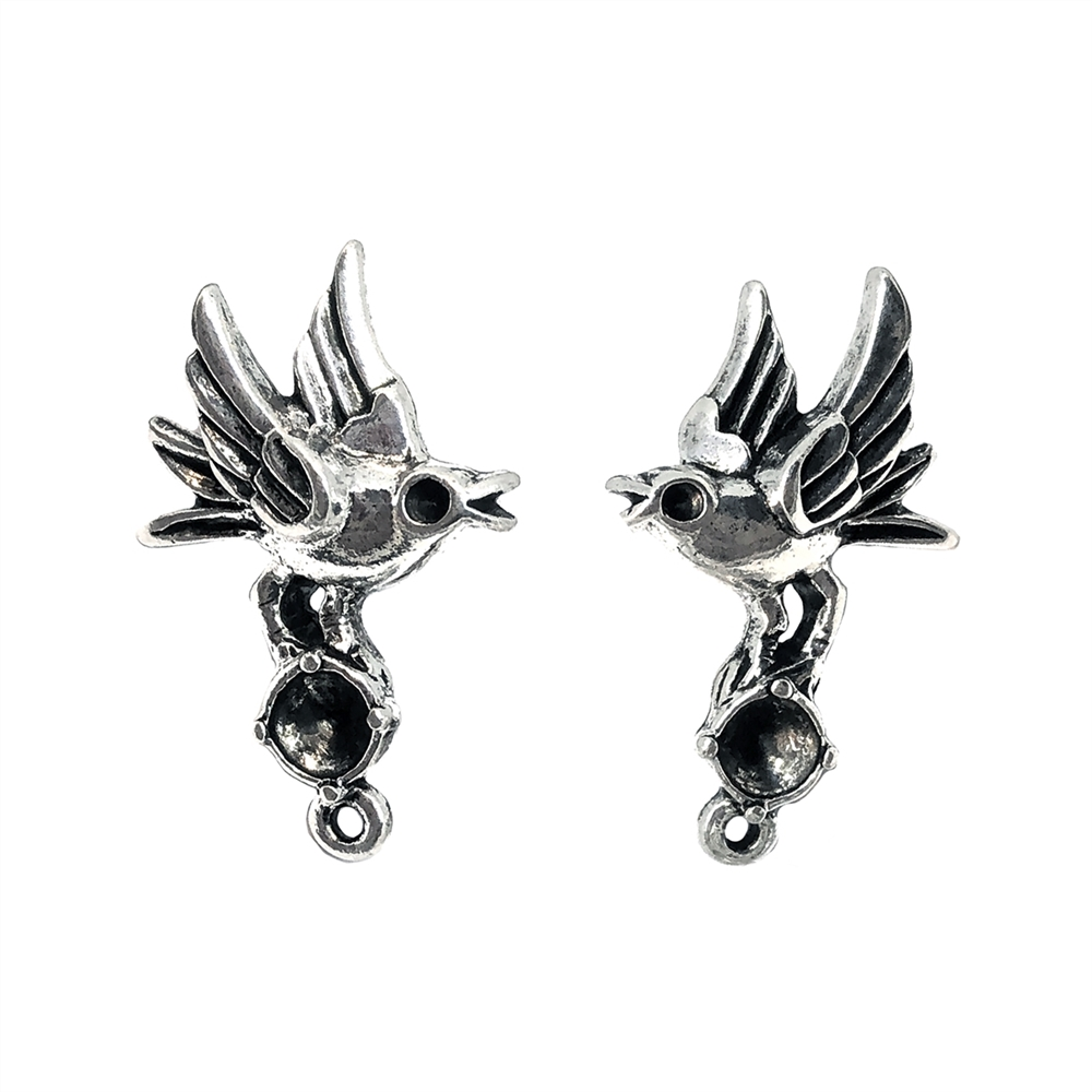 bird earring  with stone set drop, silver finish pewter, bird earrings, accent drop, vintage style, B'sue by 1928, lead free pewter castings, cast pewter jewelry findings, US made, 1928 Company, B'sue Boutiques, silver plated, 08970, bright silver