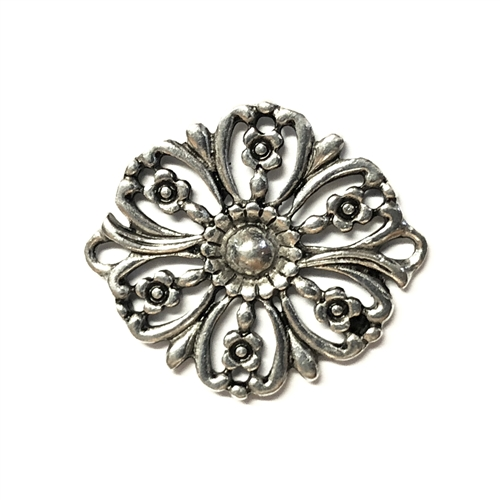 old silver, flower connectors, pewter charms, 09739, lead free pewter, B'sue by 1928, silver plated pewter, antique, vintage jewelry parts, pewter jewelry parts, nickel free finish, made in the USA, 1928 Company, designer jewelry, B'sue Boutiques