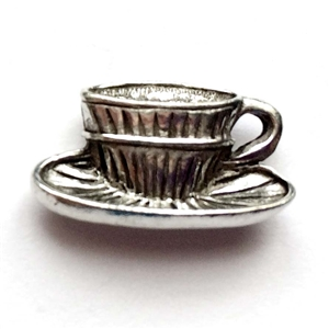 old silver, tea cup charm, 09743, lead free pewter, B'sue by 1928, silver plated pewter, antique, vintage jewelry parts, pewter jewelry parts, nickel free finish, made in the USA, 1928 Company, designer jewelry, B'sue Boutiques