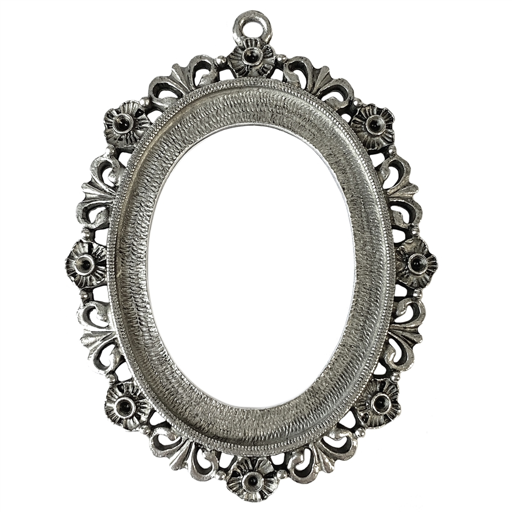 silver cameo mount, 40x30mm mount, Victorian, B'sue by 1928, lead free pewter, pewter castings, cast jewelry parts, vintage, cameo mount, polished pewter, antique silver plate, plated jewelry castings, made in the USA, 1928 Jewelry, B'sue Boutiques