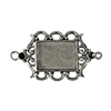 old silver, framed jewelry connector, 09745, lead free pewter, B'sue by 1928, silver plated pewter, antique, vintage jewelry parts, pewter jewelry parts, nickel free finish, made in the USA, 1928 Company, designer jewelry, B'sue Boutiques