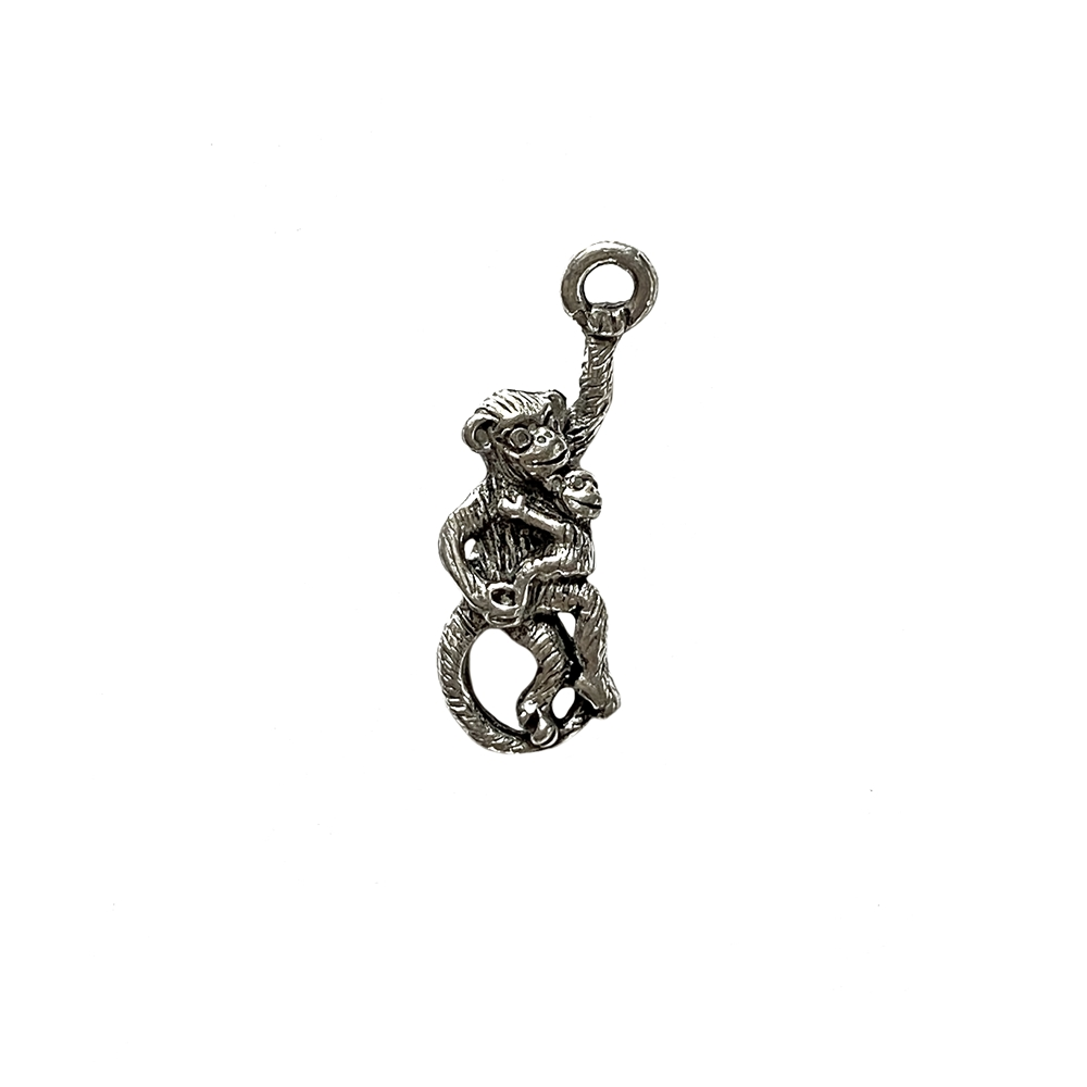 old silver, monkey charm, 09756, lead free pewter, B'sue by 1928, silver plated pewter, antique, vintage jewelry parts, pewter jewelry parts, nickel free finish, made in the USA, 1928 Company, designer jewelry, B'sue Boutiques