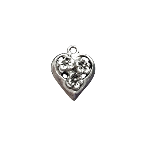 old silver, silver charms, old heart charms, vintage, B'sue by 1928, old silver finish, lead free pewter castings, cast pewter jewelry findings, made in the USA, flower charm, silver flower charm, silver heart charm, 1928 Company, B'sue Boutiques