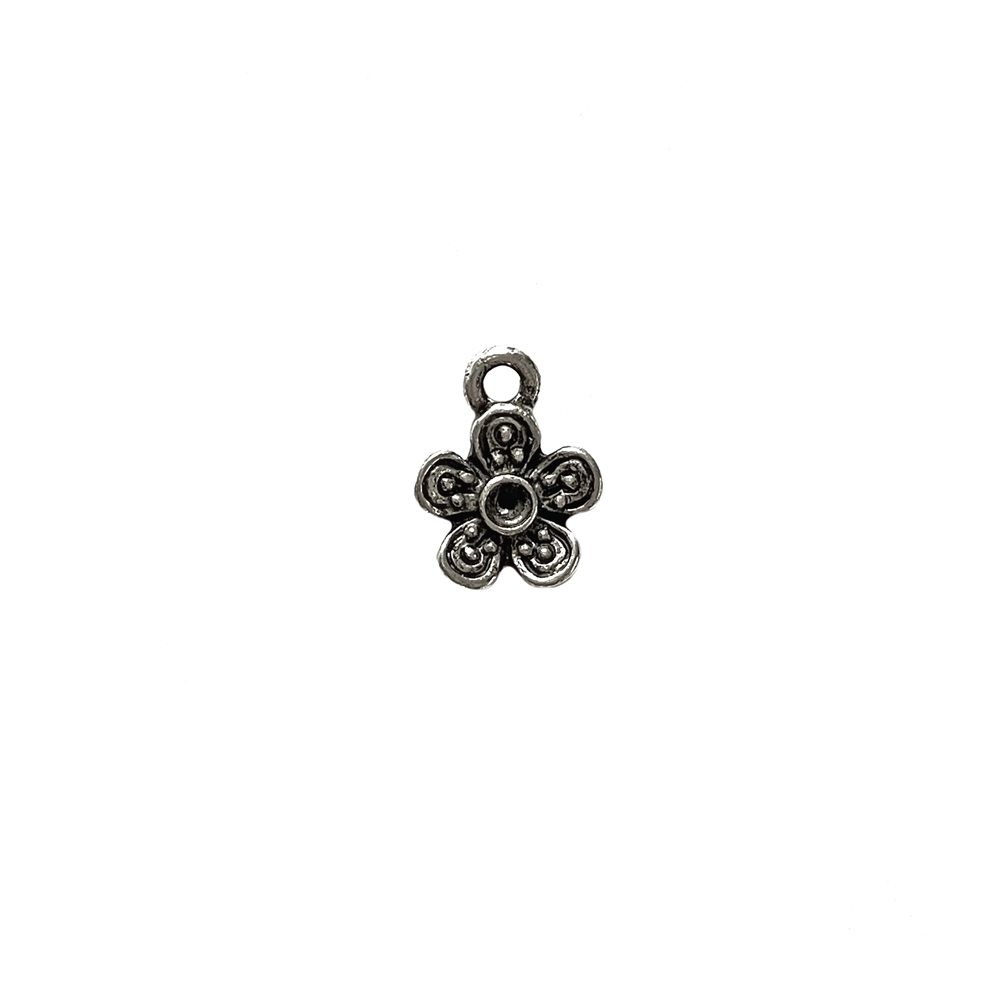 flower charm, old silver, nickel free, lead free, pewter castings, cast pewter jewelry parts, vintage, 1928 Jewelry, B'sue Boutiques, B'sue by 1928, silver charms, vintage charms, vintage jewelry findings, pewter, pewter jewelry findings, made in the USA