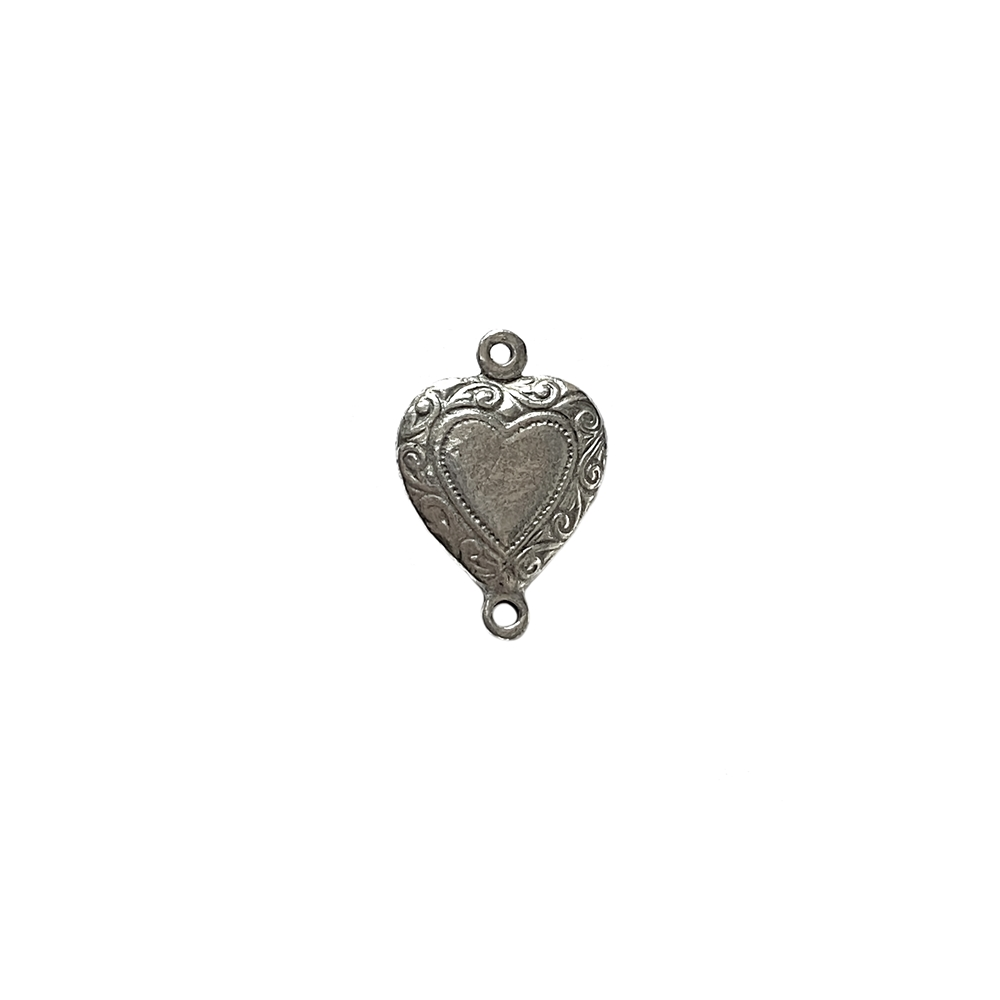 vintage pewter castings, B'sue by 1928, heart connectors, bracelet making, old silver, nickel free, lead free pewter, silver, us made, designer jewelry, vintage supplies, 1928 jewelry, B'sue Boutiques, 16x11mm, heart, pewter, antique silver, 09943