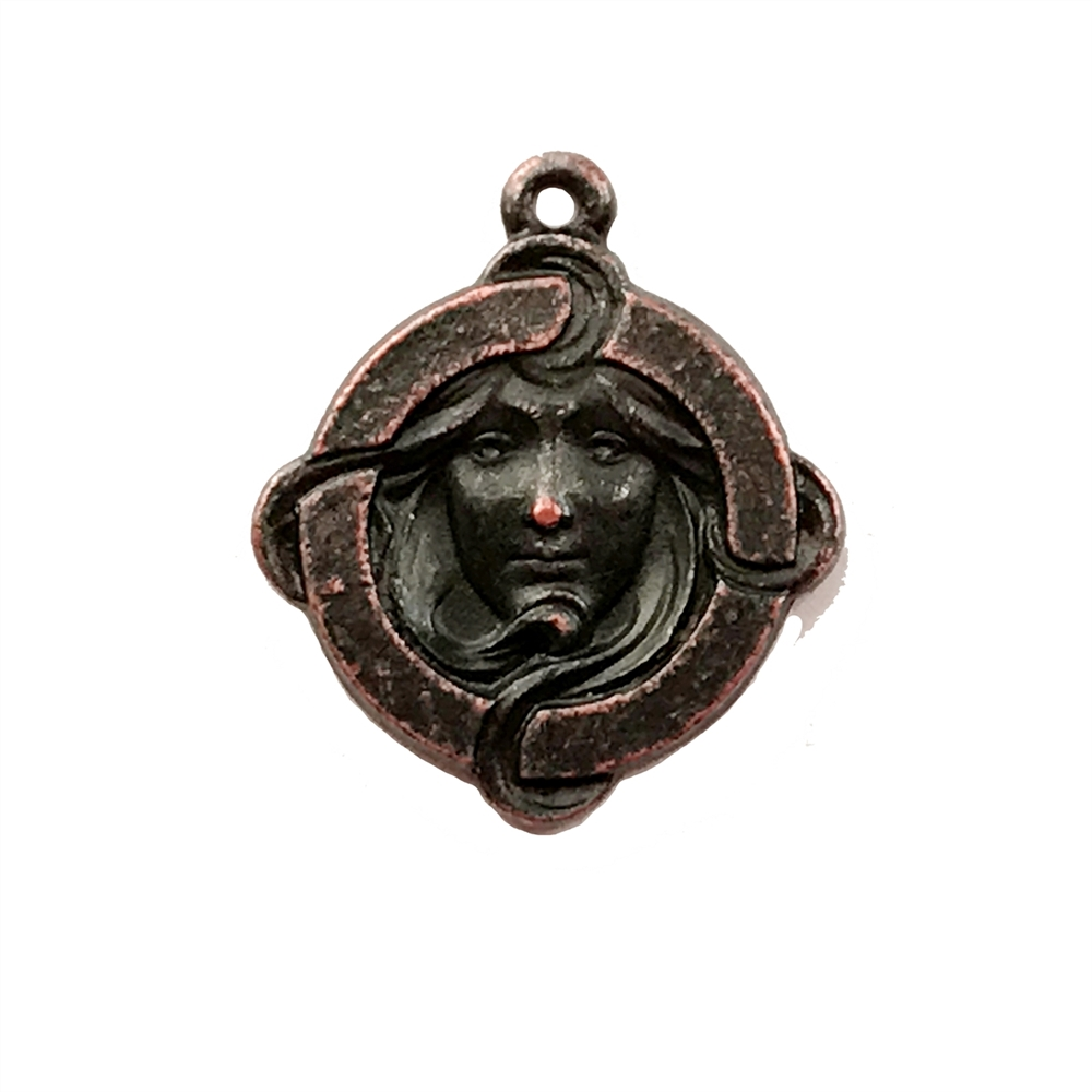 rusted iron, lady pendant, Alphonse Mucha,02215,  vintage, B'sue by 1928, lead free pewter castings, cast pewter jewelry findings, made in the USA, 1928 Company, B'sue Boutiques