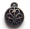 filigree charm, vintage pewter castings, B'sue by 1928, nickel free, lead free pewter, rusted iron, us made,  designer jewelry, vintage jewelry supplies, 1928 Jewelry, pewter jewelry parts, B'sue Boutiques, charm, filigree, copper base, 13x10mm, 02810
