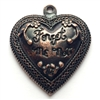 forget me not heart pendant, rusted iron pewter, vintage, B'sue by 1928, lead free pewter castings, cast pewter jewelry findings, us made, heart charm, antique copper base, heart pendant, 1928 Company, B'sue Boutiques, 36x32mm, heart, pendant, 02816