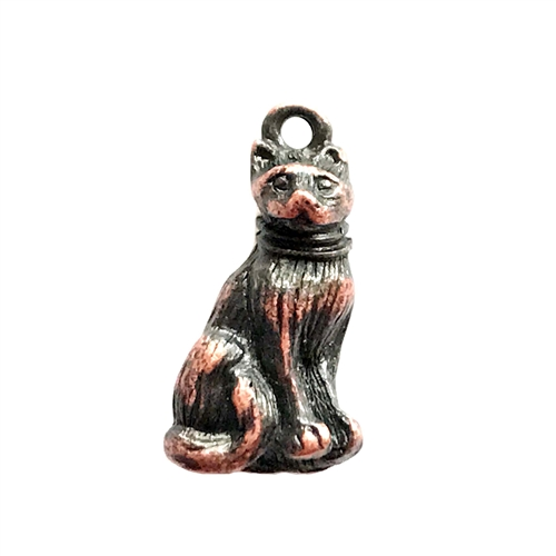 cat charm, rusted iron pewter, lead free pewter, B'sue by 1928, vintage jewelry parts, pewter jewelry parts, nickel free, us made, 1928 jewelry, B'sue Boutiques, vintage supplies, jewelry supplies, pewter, 21x11mm, cat, charm, antique copper, 03019