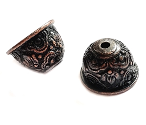 victorian floral bead cap, vintage pewter castings, B'sue by 1928, bead cap, floral, victorian, nickel free, lead free pewter, rusted iron, us made, antique copper,  vintage jewelry supplies, 1928 Jewelry, B'sue Boutiques, vintage style, 04202