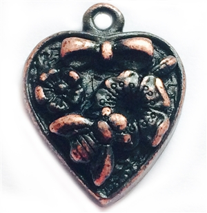heart garden pendant, vintage pewter castings, B'sue by 1928, heart, garden, charm, pendant, bee, floral, nickel free, lead free pewter, rusted iron, us made, antique copper, vintage jewelry supplies, 1928 Jewelry, B'sue Boutiques, vintage style, 04204