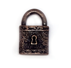 Victorian square style lock, pendant, victorian square lock stamping, lock, rusted iron pewter, rusted iron, 3d charm, vintage style, rusty iron, us made, nickel free, B'sue Boutiques, B'sue by 1928, lead free pewter, vintage supplies,jewelry making,04896