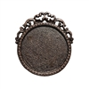 victorian style mount, B'sue by 1928, Victorian mount, cameo mount, stone mount, rusted iron, iron, copper base, mount, vintage, nickel free, lead free pewter, vintage castings, US made, vintage supplies, 1928 Jewelry, B'sue Boutiques, 26mm mount, 05637