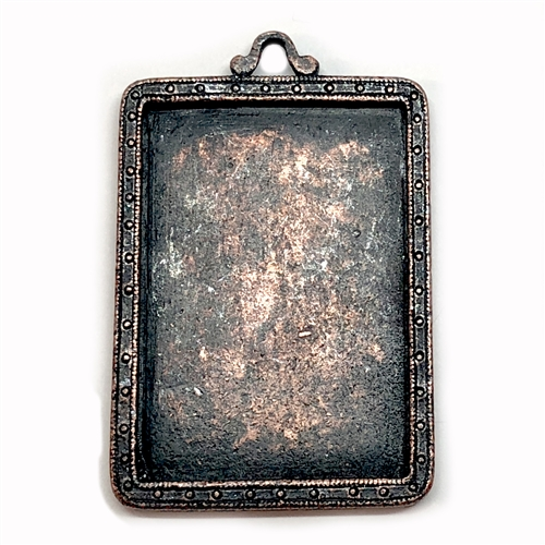 Picture Frame Pendant, Rusted Iron, 05642, lead free pewter, B'sue by 1928, antique copper pewter, framed mount, vintage jewelry supplies, pewter jewelry parts, nickel free finish, US made, 1928 Jewelry Company, designer jewelry, B'sue Boutiques