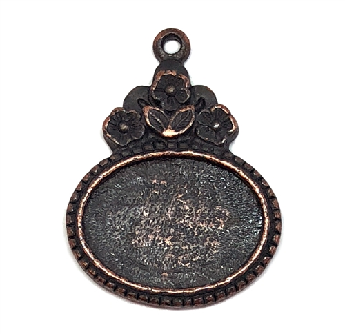 floral pendant mount, B'sue by 1928, floral mount, cameo mount, stone mount, rusted iron, iron, copper base, mount, vintage, nickel free, lead free pewter, vintage castings, US made, vintage supplies, 1928 Jewelry, B'sue Boutiques, 18x13mm mount, 05648