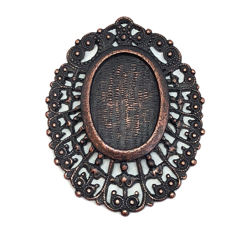 Victorian Lace Pendant, Rusted Iron, 05651, 25 x 18mm mount, vintage pewter castings, B'sue by 1928,  nickel free, lead free pewter, antique copper, US made, vintage mount, vintage jewelry supplies, 1928 Jewelry, B'sue Boutiques, filigree pendant