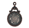 victorian style pendant, B'sue by 1928, Victorian mount, 18mm mount, stone mount, rusted iron, antique copper, mount, vintage, nickel free, lead free pewter, vintage castings, US made, vintage supplies, 1928 Jewelry, B'sue Boutiques, 05652