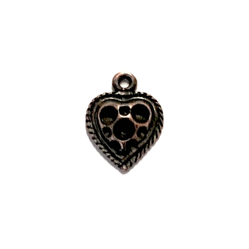vintage pewter castings, B'sue by 1928, heart charms, bracelet making, rusted iron, nickel free, lead free pewter, rusted iron pewter, us made, stone set hearts, vintage supplies, 1928 jewelry, B'sue Boutiques, 15x11mm, heart, charm, pewter, copper 07622